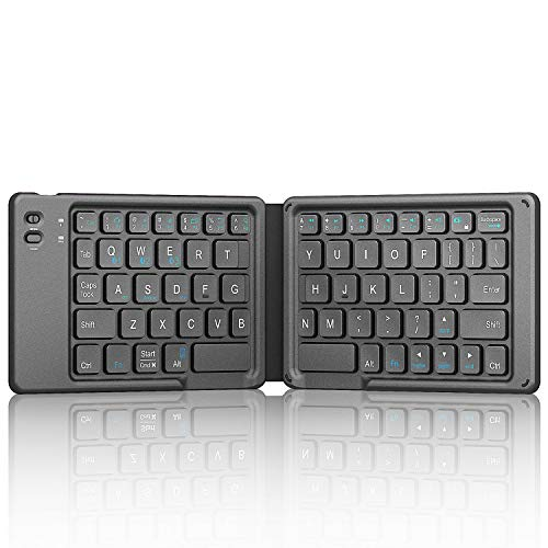 iClever Bluetooth Keyboard - Foldable Keyboard (Sync Up to 3 Devices) in Portable Pocket Size, Rechargeable Multi Device Folding Keyboard for iPad iPhone Mac Tablet Laptop Android Phone Windows iOS