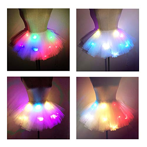 SHINYOU Women Tutu Skirt LED Light Up Ballet Skirt Short White+Color (Waist:27~41in)]()