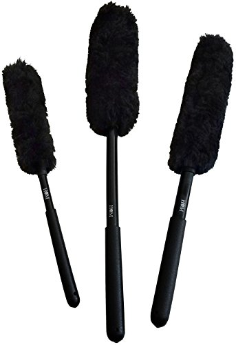 HOM Premium Wool Wheel Brushes Kit (3 Brushes) Scratch Free Brushes for Rims and Auto Detailing, Wheel Woolies, Rubber Grips, Holes in Handles, Detailing Kit, Durable Custom Design, Wheel Brush (Brush Wheel Spoke)