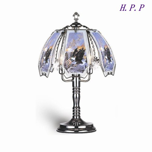 H.P.P. 23.5''H NEW Glass Fly high, america Table Lamp w/ Dark Chrome Finish Base by High performance parts (Image #1)