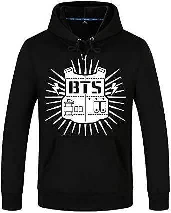BTS Letter Pattern Hooded Long Sleeve Swatshirt Casual Trend Loose Comfort Commemorative Tops