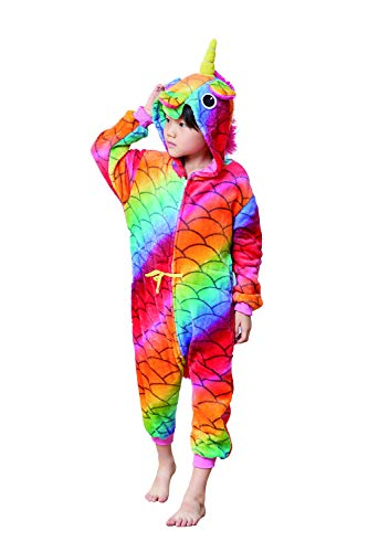 Comfy New Unicorn Onesie Fish Scale Animal Pajamas Cosplay Costume One Piece Birthday Gift 2-4 Years]()