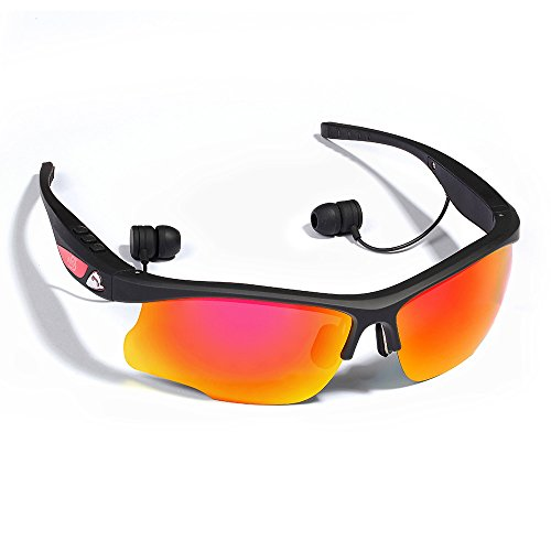WoSports® S6 Sports Cycling Sunglasses. Bluethooth 4.0 Stereo Headset Headphone Polarized Glasses, Hand-free Phone Answer/Call Music Function with Smarthpone Iphone5s, 6 plus for Riding Driving Fishing Running Gym and All Outdoor Activities (Black) (Bluetooth Glasses With Mp3)