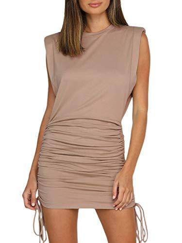 Miessial Women's Casual Shoulder Pad T-Shirt Mini Dress Summer Bodycon Ruched Short Dress Khaki 16-18