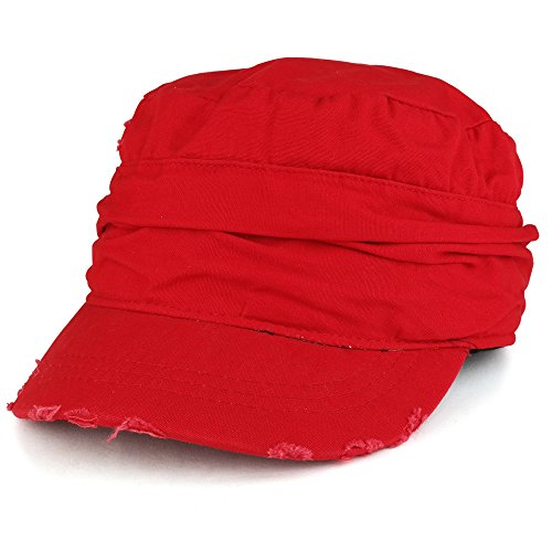 Vintage Frayed Wrinkled Elastic Band Cadet Style Army Cap - RED