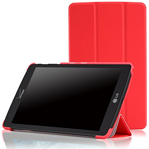 MoKo LG G Pad X8.3 Case - Ultra Compact Slim Lightweight Smart Shell 3-Folding Stand Cover Case with Auto Wake/Sleep for LG G Pad X 8.3 VK815 4G LTE Verizon 8.3 Tablet, Red