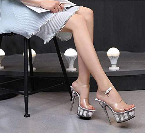 Tacón Alto Pasarela Club Nocturno Sandalias Imperm Verano Flores Baile Plataforma Tacones Zapatos Altos Flor Para De Muy Súper Mujeres Modelo Polo Piso Blanco Cristal Transparente aqYIwfq