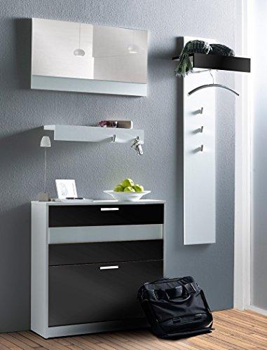 Expendio 44849072 Garderoben Set 4-teilig, MDF / Spannplatte, schwarz, 25 x 135 x 141 cm