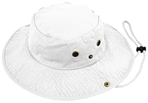 - Deewang Summer Bucket Cap, Sun Hat With Adjustable CHINSTRAP, Outdoor Hunting Fishing Safari boonie Hat (White, Large/X-Large)