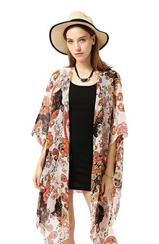 HINURA Womens Kimono Vintage Floral Beach Cover up Paisley Print Sheer Chiffon Loose Cardigan RustyRed.