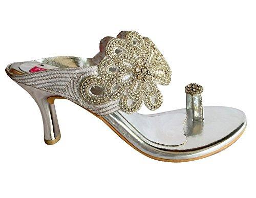 Step n Style Zapatillas de novia sandalias tacón dimanate indio bordado jutti