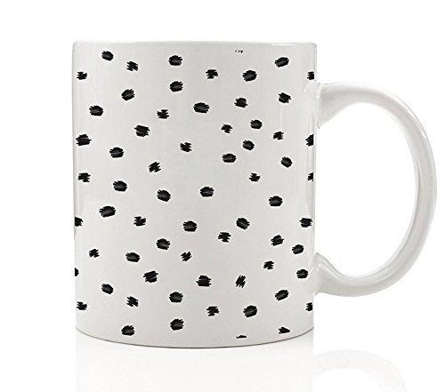 Modern Spotted Coffee Mug Gift Idea Black Dotted Dalmatian Dog Lover Chic Abstract Geometric Polka Dots Design Birthday Holiday Present Family Friend Coworker 11oz Ceramic Tea Cup Digibuddha DM0186 (Dalmatian Mug)