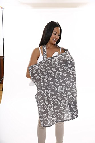 Zenoff Products Nursing Cover, Flowing Fans, Grey, White by Zenoff Products (Image #2)
