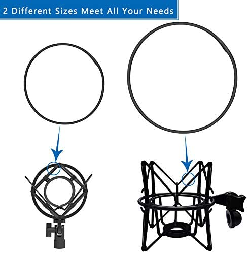 ZRAMO 4PC Universal Anti-aging Silicone Ring Black Elastic Bands Replacement Microphone Shock Mount Holder Clamp Clip for Shure KSM32 KSM44 KSM42s Shure system Heil SM-2,Neumann EA-1 shock mount