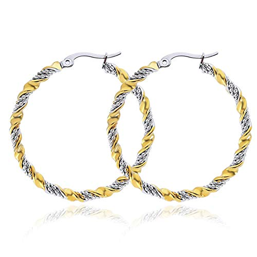 (Yumay 14K Large White Yellow Gold Hoop Earrings for Women-Twist Design Click-Top Hoop Earrings for Girls (50MM))