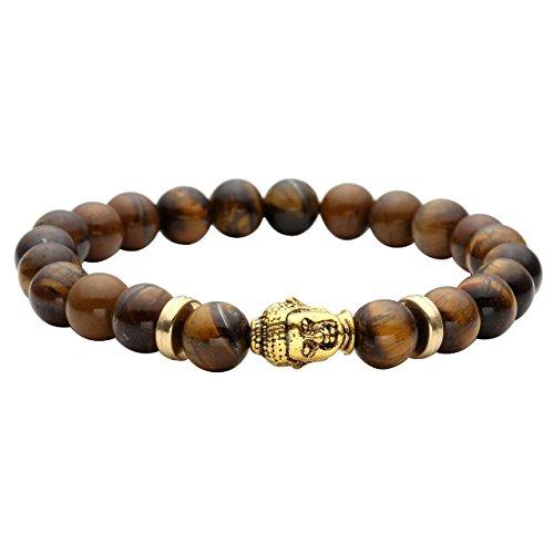 JSDDE Lava Armband,Unisex Zen-Buddhismus Armreif Energietherapie Gold Buddha-Kopf Healing Yoga-Armband, Tigerauge-Stein