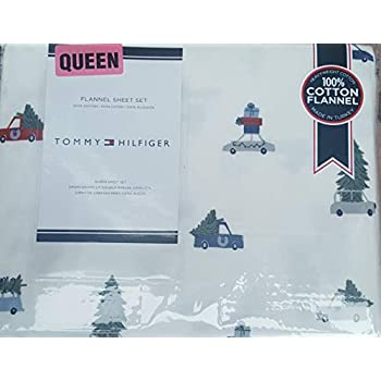 Tommy Hilfiger Queen Sheet Set Flannel Cotton Christmas Trees on Cars Bedding 4 Pc Set