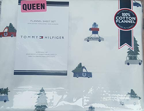 Tommy Hilfiger Queen Sheet Set Flannel Cotton Christmas Trees on Cars Bedding 4 Pc Set ()