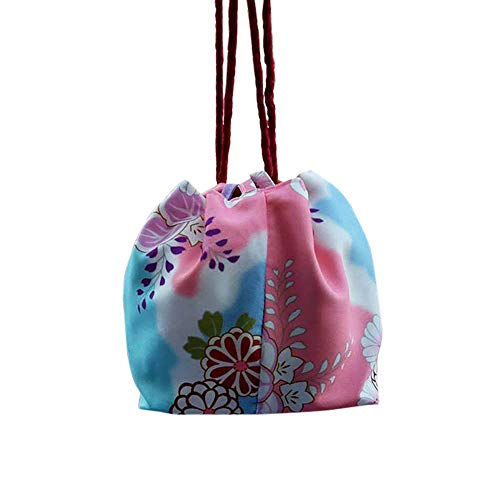 Japanese Purse Women's Traditional Cherry Blossom Sakura Bag DIY Beautiful Bento Bags Kimono Acc Drawstring Pouch (Blue Floral)
