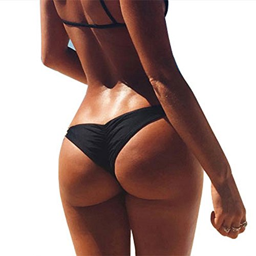 Women Brazilian Cheeky Bikini Bottom Ruched Back Mini Itsy Swimwear Bathing Thong (US 2/4 (M), Black)