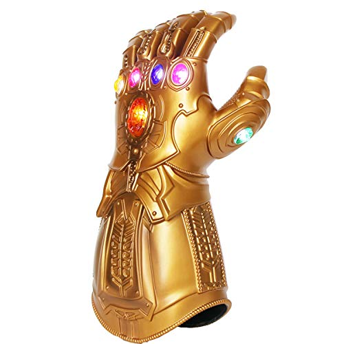 Thanos Infinity Gauntlet Glove LED Gem Light Up Gloves for Kids Gold
