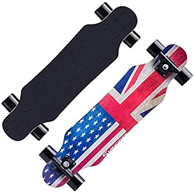 ENYI Skateboard Four-Wheel Longboard Skateboarding Youth Boys and Girls Dance Board Adult Road Brush Street Skateboard Beginner Scooter (Color : 1) : Sports & Outdoors