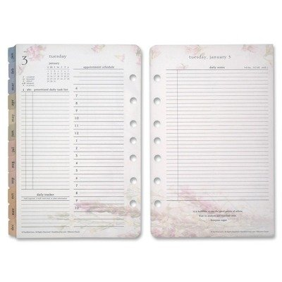 Franklin Covey Blooms Dated Daily Planner Refill, January-December, 4 3/4 x 6 3/4, 2018 (FDP35438)