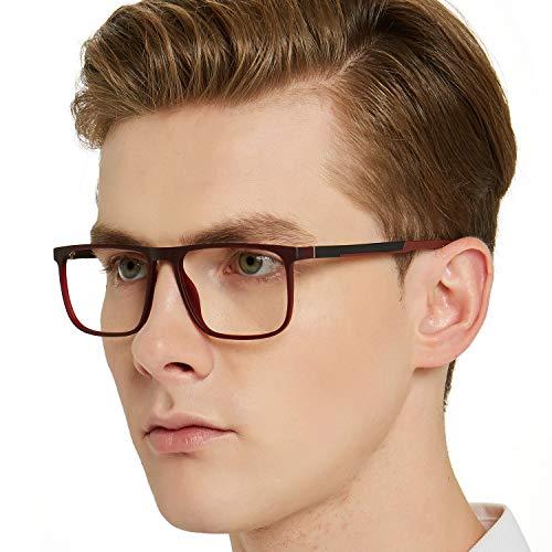 OCCI CHIARI Men Non Prescription Eyeglasses TR90 Frame with Clear Lense Eyewear (Red Brown)
