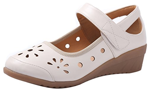 Abby 316 Mujeres Ballroom Rumba Latin Closed Wedge Wedge Mid Heel Acogedor Transpirable Hollow Modern Mary Jane Zapatos De Baile Beige