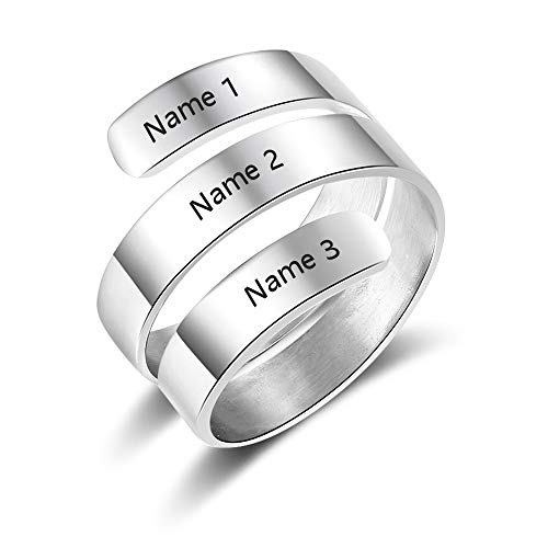 SimpleQ Personalized Friendship Rings for Best Friends BFF Sister Promise Rings Graduation Gifts for Girls (White)