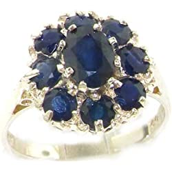 14k White Gold Natural Sapphire Womens Cluster Ring - Sizes 4 to 12 Available