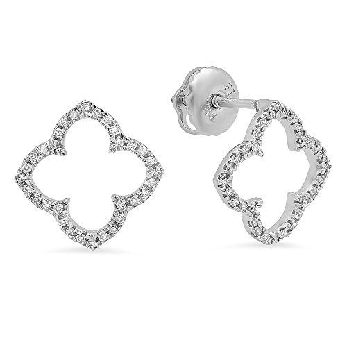 1/4 Ct Round Diamond Flower (0.13 Carat (ctw) 14K White Gold Round Diamond Ladies Flower Clover Shaped Stud Earrings 1/4)