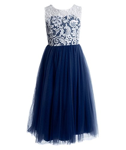 FAIRY COUPLE Girl's A-line Illusion Neck Lace Flower Girl Party Dress K0171 14 Navy Blue