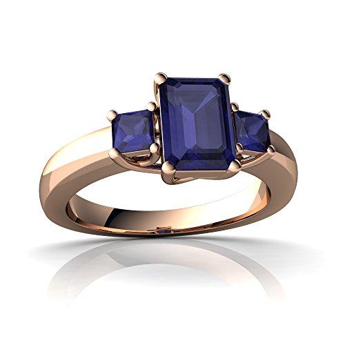 14kt Rose Gold Sapphire 7x5mm Emerald_Cut Three Stone Trellis Ring - Size 8.5 (Sapphire Ring Trellis)