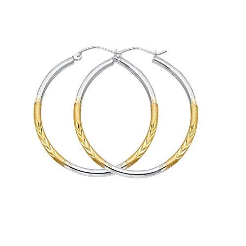 14K Yellow White Gold 2mm Diamond Cut Satin Hoop Earrings Size - (Diameter - 30 MM) by Top Gold & Diamond Jewelry