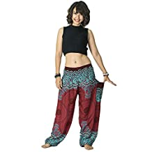 Yeefant Yoga Pants High Waist for Men Women, Thai Harem Trousers Boho Festival Hippy Smock Loose Plus Size Lantern Pants with Side Pockets