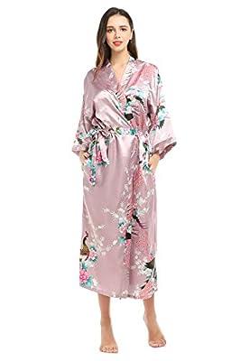 YueQiW Women's Kimono Long Robe- Silk Peacock & Blossoms With Pockets