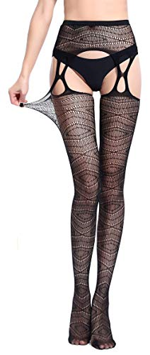 - Pareberry Women's High Waisted Fishnet Tights Sexy Wide Suspender Pantyhose Thigh-High Fishnet Stockings (Black-D6066)
