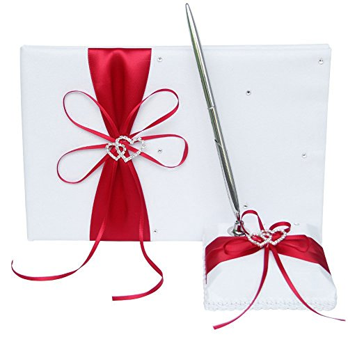 Ribbon Guest Book - Guest Book and Pen Set Holder, Hardcover with Stain Ribbon Bow and Rhinestone Heart Signs for Rustic Wedding Ceremony Party Favor-Red, 72 Pages
