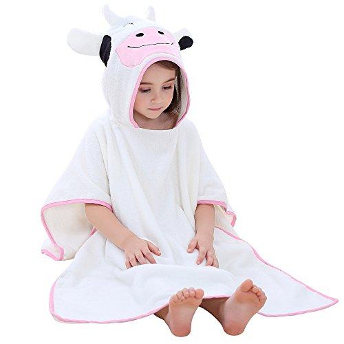Jian Ya Na Kids'Bath Towels Hooded Beach Poncho Cute Animal 100% Cotton Hoody Cloak Poncho for 1-6 Years old Kids Toddlers Quick Dry,27''x55'' (White(Cow)) by Jian Ya Na