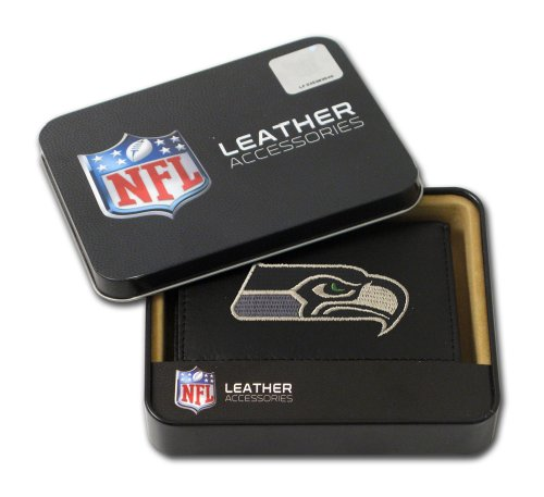 NFL Seattle Seahawks Embroidered Genuine Leather Trifold Wallet