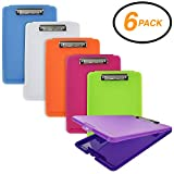 Emraw Plastic Translucent Clipboard Pack with Storage Case Box Letter Size Paperboard Assorted Colored Hardboard Set Low Profile Clip, Wall Mount Clip Boards, 6 Pack