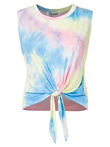 PERSUN Summer Casual Cotton Sleeveless Blouse Shirts Front Tie Knot Cami Tank ()
