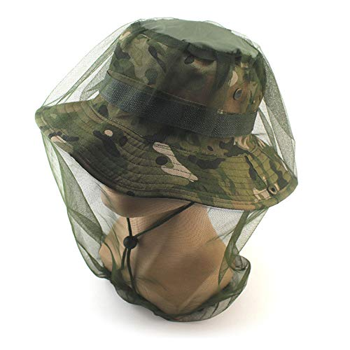1Pcs Breathable Anti-Mosquito Head Net Jungle Hat Head Protective Cover Camouflage Net Mesh Headgear for Outdoor Garden Work Hiking Camping ()