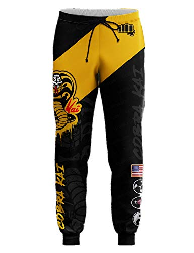 Cobra Kai Pants Athletic Sweatpants Training Pants Casual Long Pants 2XL Black