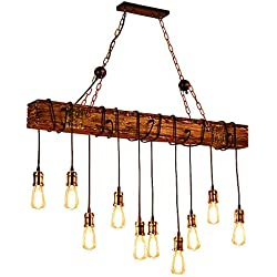Ladiqi 10-Lights Wooden Island Chandelier Retro Rustic Pendant Lighting Lamp Multiple Adjustable Hanging Ceiling Linear Light Fixtures for Kitchen Island Living Room Bar
