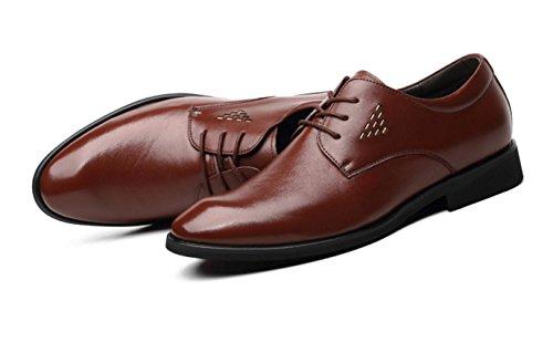 WZG zapatos de vestir de los hombres de negocios señalado los zapatos de cuero de piel de vaca cuero de los hombres negros del cordón de zapatos transpirables Brown
