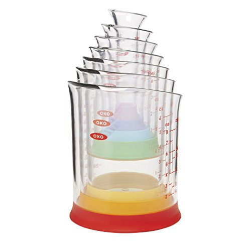 - OXO Good Grips 7-Piece Nesting Measuring Beaker Set, Multicolored