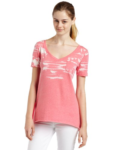 V-neck Top Tank Volcom - Volcom Juniors Space Cadette Tee, Conga Coral, Large