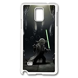 Note 4 Case, Galaxy Note 4 Case, Unique Design Shock absorbing Hard PC White Protective Case Cover for Samsung Galaxy Note 4 - Yoda Star Wars